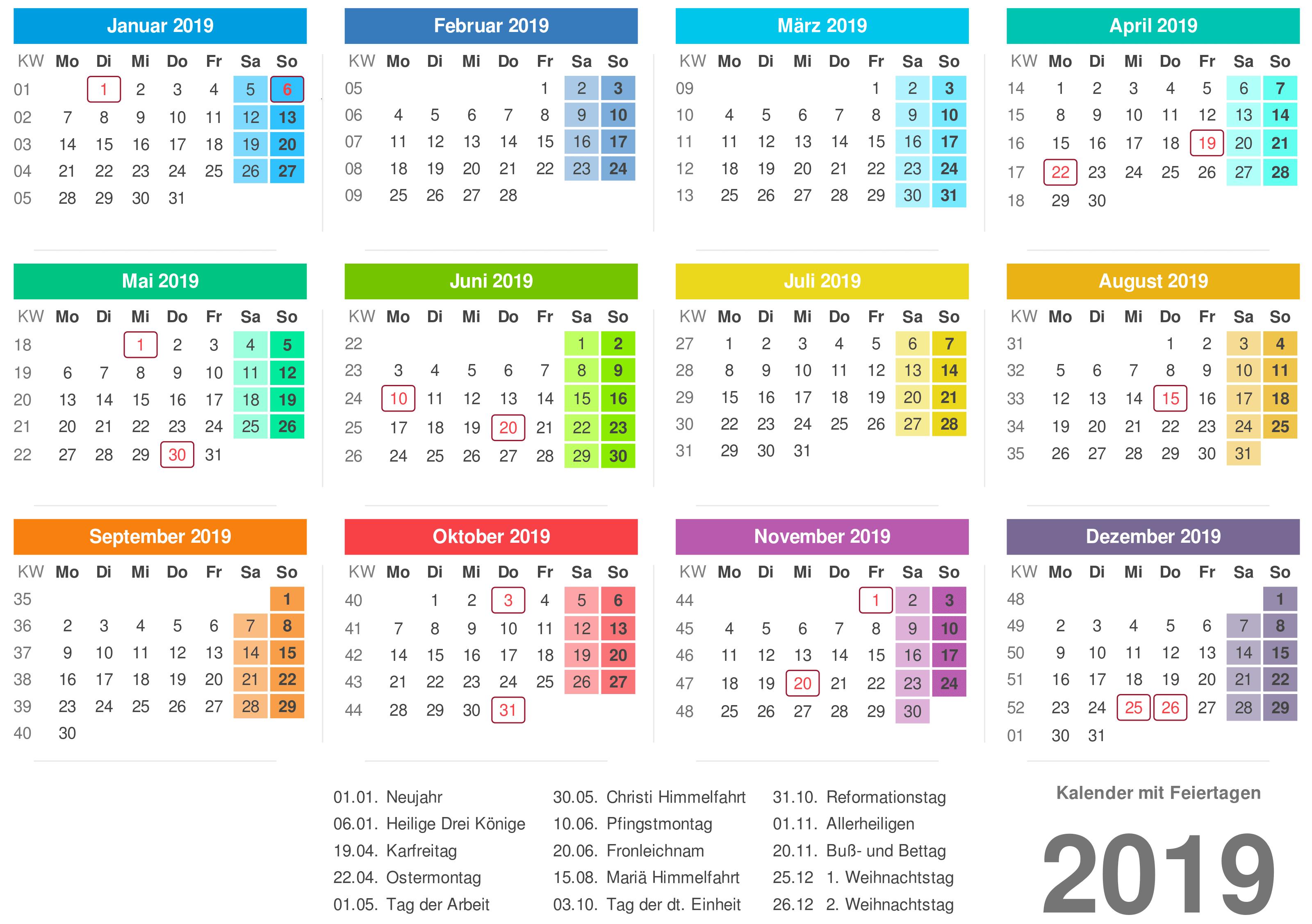 kalender 2019 kostenlose