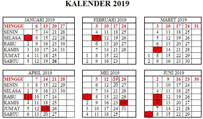 Kalender 2019 Tanggal Merah